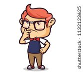 nerd geek thinking | Shutterstock .eps vector #1132123625