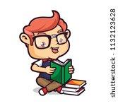 nerd geek read a book | Shutterstock .eps vector #1132123628