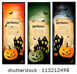 three halloween banners  vector | Shutterstock .eps vector #113212498