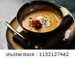 lentil cream soup with baked... | Shutterstock . vector #1132127462