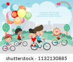 happy kids on bicycles  child... | Shutterstock .eps vector #1132130885