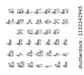 korean alphabet. full set of... | Shutterstock .eps vector #1132142945