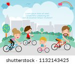 happy family on bicycles.... | Shutterstock .eps vector #1132143425