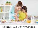 family  cooking and people... | Shutterstock . vector #1132148075