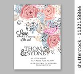 pink rose floral wedding... | Shutterstock .eps vector #1132158866