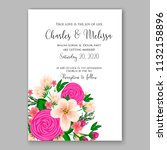 floral wedding invitation or... | Shutterstock .eps vector #1132158896