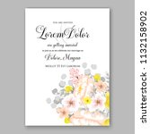 floral wedding invitation or... | Shutterstock .eps vector #1132158902