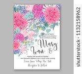floral wedding invitation or... | Shutterstock .eps vector #1132158962