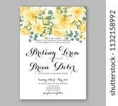 floral sunflower wedding... | Shutterstock .eps vector #1132158992