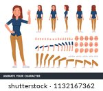 woman wear blue jeans shirt... | Shutterstock .eps vector #1132167362