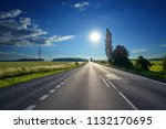 glowing sun over an empty... | Shutterstock . vector #1132170695