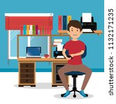 young man in the workplace... | Shutterstock .eps vector #1132171235
