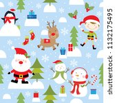christmas fun pattern | Shutterstock .eps vector #1132175495