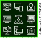 set of 9 screen outline icons... | Shutterstock . vector #1132183418