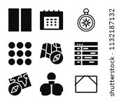 filled set of 9 interface icons ... | Shutterstock . vector #1132187132