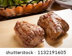 delicious pork cheek meat on a... | Shutterstock . vector #1132191605