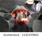 brazier for cooking such as... | Shutterstock . vector #1132195802