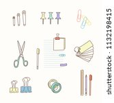 stationery icons hand drawn... | Shutterstock .eps vector #1132198415