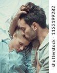 sweet couple sleeping ... | Shutterstock . vector #1132199282