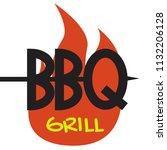 logo bbq grill on white...   Shutterstock .eps vector #1132206128