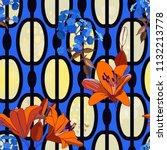 trendy floral seamless pattern... | Shutterstock .eps vector #1132213778