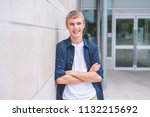 happy teen with arms crossed... | Shutterstock . vector #1132215692
