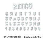 retro style 3d font vector... | Shutterstock .eps vector #1132223762
