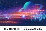 retro futuristic background... | Shutterstock . vector #1132235252