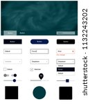 dark blue vector ui ux kit with ...