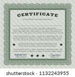 green certificate or diploma... | Shutterstock .eps vector #1132243955