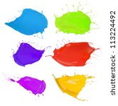 Shot of colored paints splashes blobs, isolated on white background - stock photo