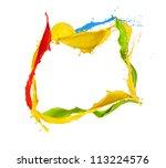 Isolated shot of colored paint frame splash on white background - stock photo