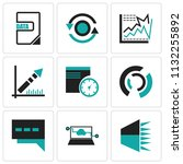 set of 9 simple editable icons... | Shutterstock .eps vector #1132255892