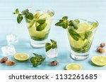 mojito cocktail with lime and... | Shutterstock . vector #1132261685
