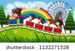 children riding a train in fun... | Shutterstock .eps vector #1132271528