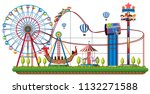 theme park rides on white... | Shutterstock .eps vector #1132271588
