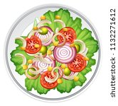 a healthy salad top view... | Shutterstock .eps vector #1132271612