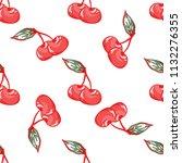 vector cherry pattern on white...   Shutterstock .eps vector #1132276355