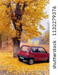 the car under a tree is filled... | Shutterstock . vector #1132279376