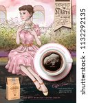 coffee beans ads with elegant... | Shutterstock .eps vector #1132292135