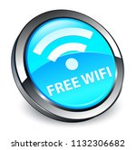 free wifi isolated on 3d cyan... | Shutterstock . vector #1132306682