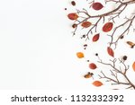 autumn composition. frame made... | Shutterstock . vector #1132332392