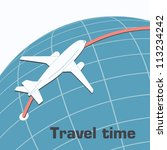 the plane flies over the earth... | Shutterstock .eps vector #113234242