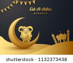 shiny golden paper cut style... | Shutterstock .eps vector #1132373438