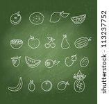 fruit icons doodle set | Shutterstock .eps vector #113237752