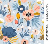 seamless pattern with flowers... | Shutterstock .eps vector #1132379798