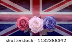 very british red white and blue ...   Shutterstock . vector #1132388342