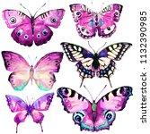 beautiful butterfly watercolor  ... | Shutterstock . vector #1132390985