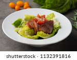 smoked duck salad on table   Shutterstock . vector #1132391816