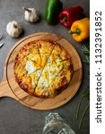 pizza with egg ham and mushrooms   Shutterstock . vector #1132391852